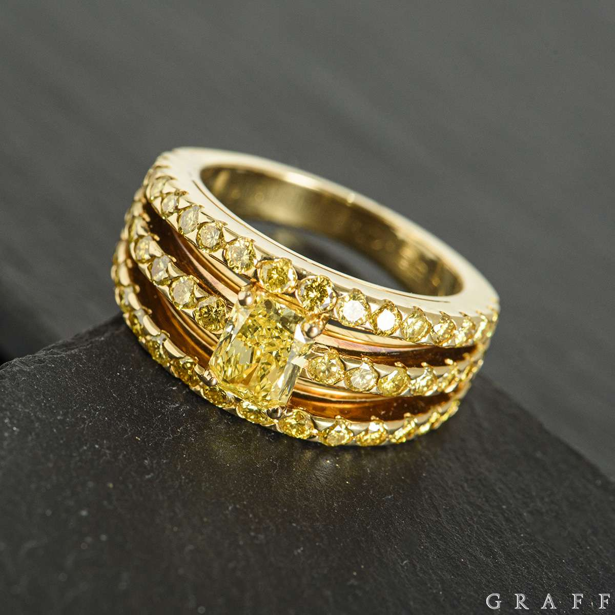 Graff Yellow Gold Fancy Vivid Yellow Diamond Dress Ring 0.92ct
